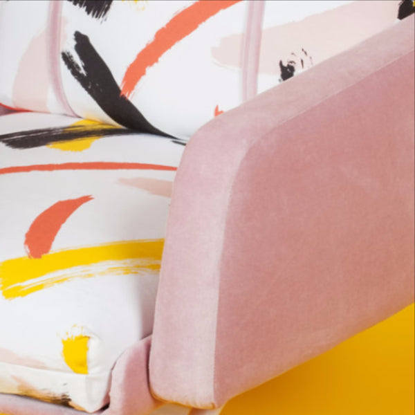 ReLive 'JUNE78' || 1970s Chair Upholstered in PLAYPAINT Fabric & Pink Velvet
