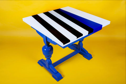 BESPOKE || ReLIVE Lacquered Table with Stripe Out Design