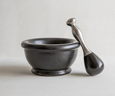 Black granite pestle and mortar
