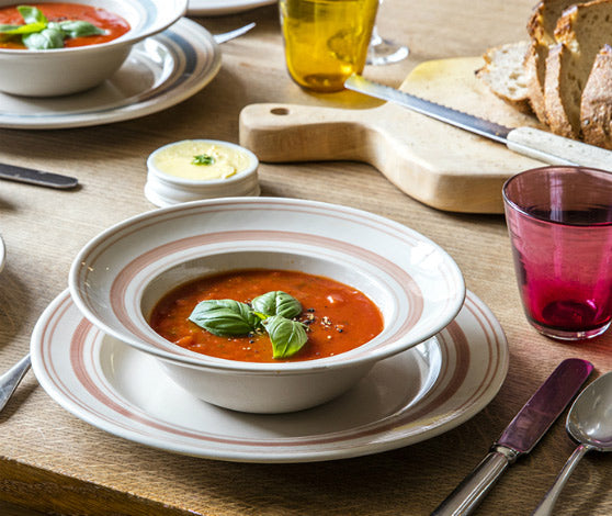 linen stripe tableware