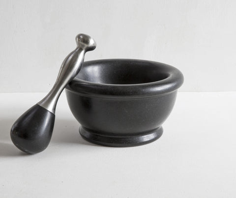 Black Granite Pestle & Mortar with Stainless Steel Handle