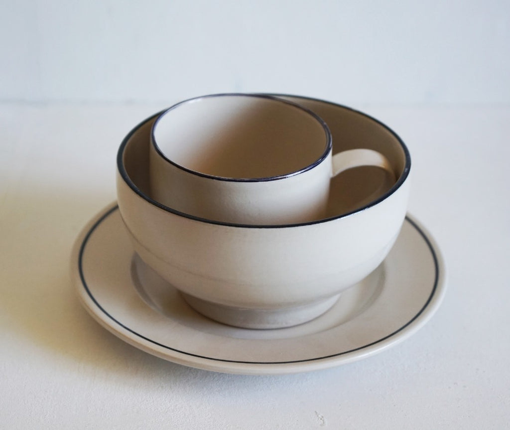Simple Stoneware Breakfast Set - Line Noir