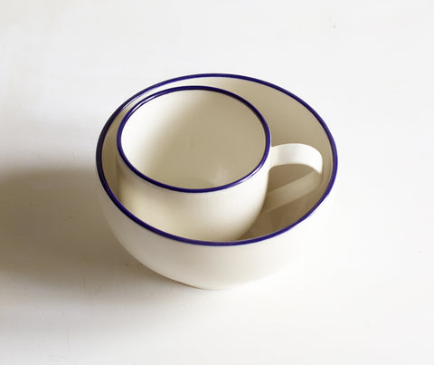 Porcelain Simple Mug and Bowl with Cobalt Blue Rim