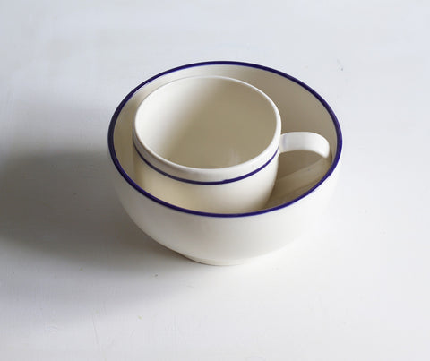 Simple Mug inside the Simple Bowl, hand painted with a cobalt blue line
