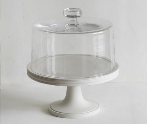 Classical Cake Stand, 28cm with Glass Dome