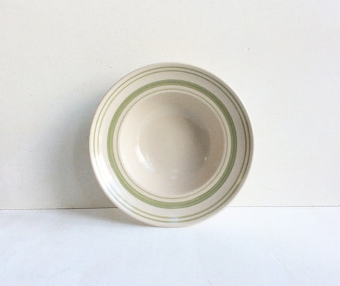 Classic stoneware tableware with Clover Green linen stripe: Deep Bowl