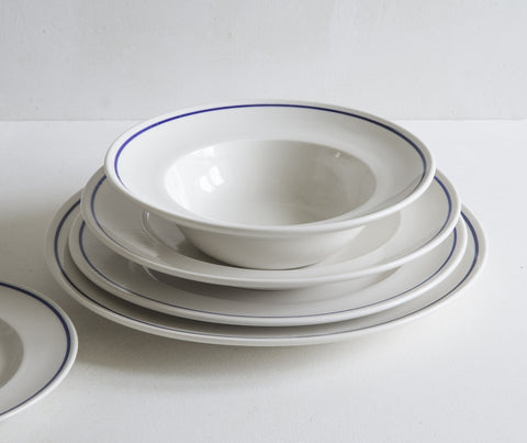 Classical Porcelain, Cobalt Blue Line, Side Plate, Dinner Plate, Shallow Bowl, Deep Bowl