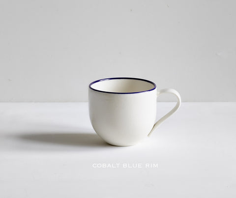 Porcelain Simple Mug with Blue Rim