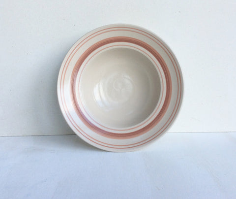 Classical Stoneware Tableware with Rose Linen Stripe: Deep Bowl