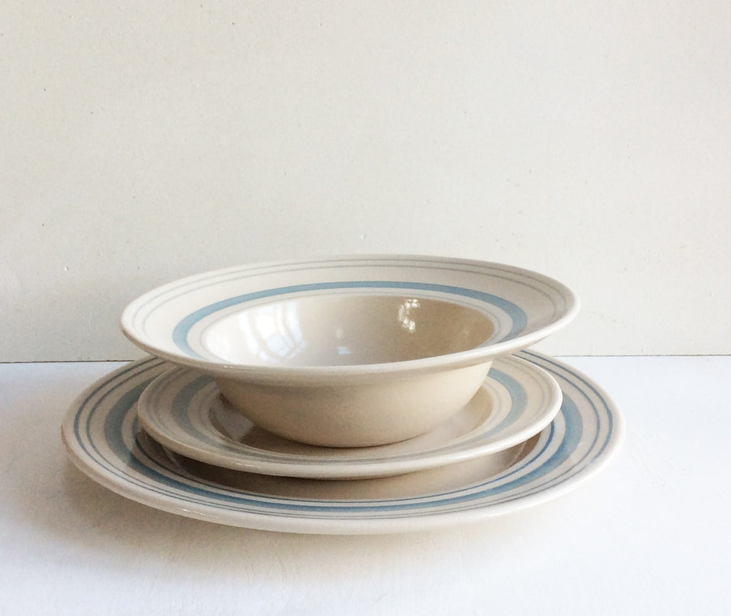 Handmade Tableware Set in Duck Egg Linen Stripe