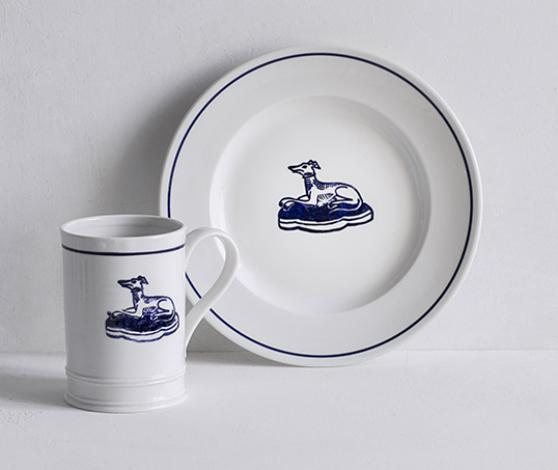 Classical Porcelain Side Plate and Mug with a Blue Line and Hound