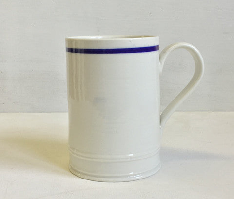 Classical Mug with a blue line, hand thrown porcelain