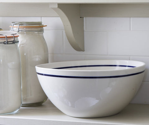 Classical Porcelain Mixing and Serving Bowl with Cobalt Blue Line