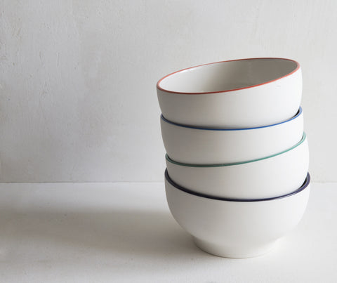 Handmade Porcelain Simple Bowls with Coloured Rim