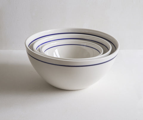 Nested serving bowls with Cobalt Blue Line