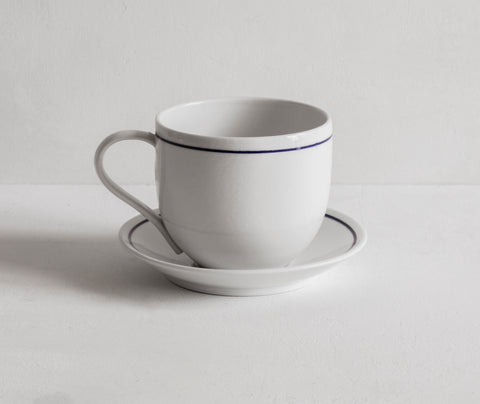 Simple Mug and Saucer with Blue Line