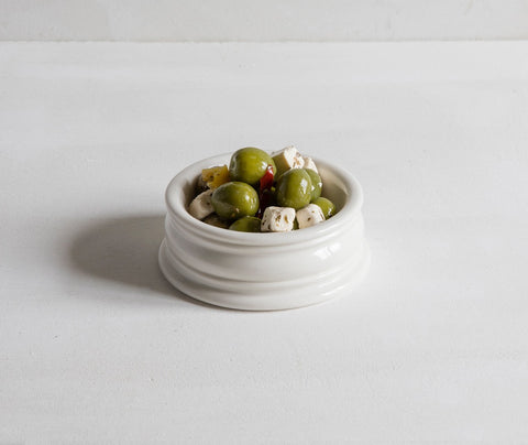Classical Pinch Pot, fully glazed, with olives