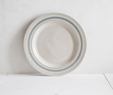 Classical Stoneware Handmade Tableware Duck Egg Blue Linen Stripe Dinner Plate