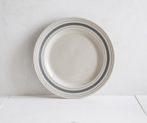 Classical Stoneware, Grey Linen Stripe Dinner Plate