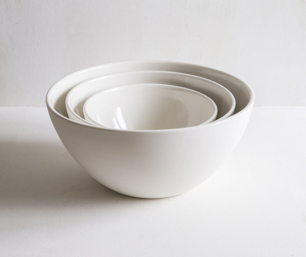 Handmade Plain Porcelain Deep Serving Bowls
