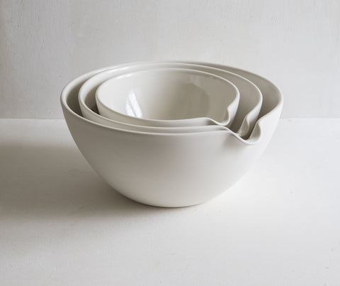 Pouring Bowls in Half Glazed Porcelain