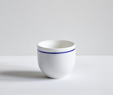 Porcelain Simple Beaker with hand painted Cobalt Blue line