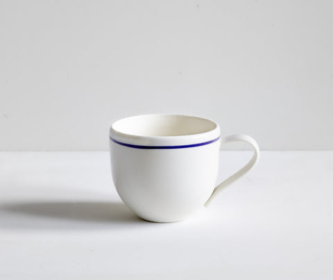 Porcelain Simple Mug with Cobalt Blue Line