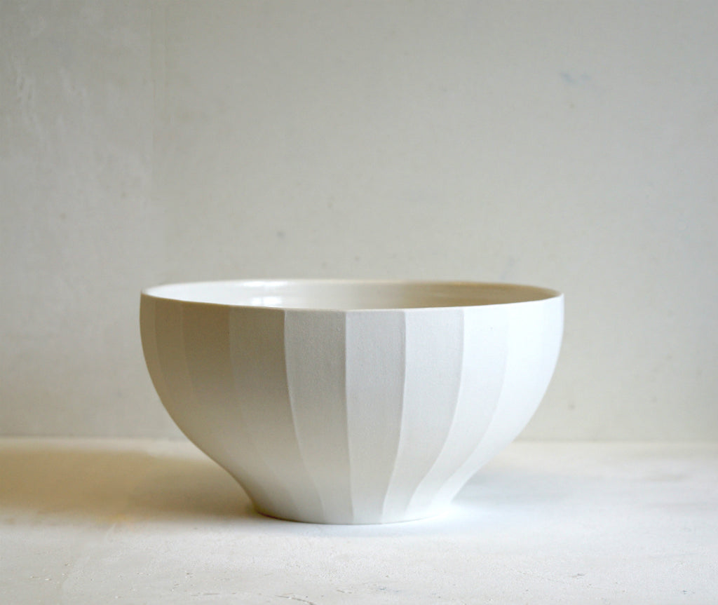 Handmade Fluted Porcelain Bowl