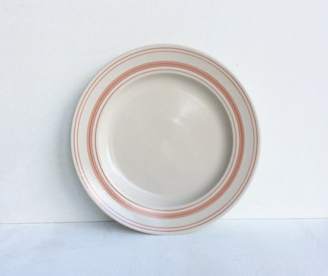 Classical Stoneware Tableware with Rose Linen Stripe: Dinner Plate