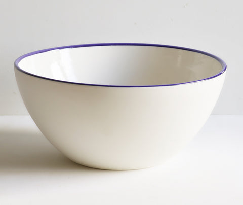 Handmade Serving Bowls with Cobalt Blue Rim