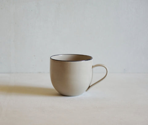 Handmade Stoneware Simple Mug with Black Rim