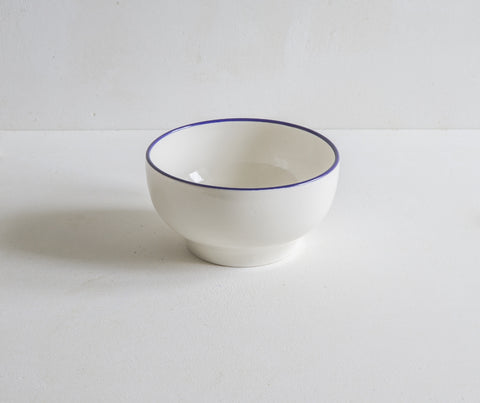 Handmade Porcelain Simple Bowl with Cobalt Blue Rim