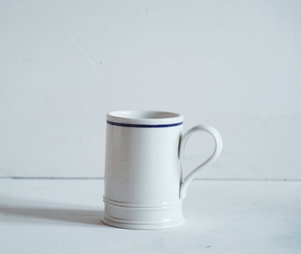 Classical Small Coffee Mug with Cobalt Blue Line