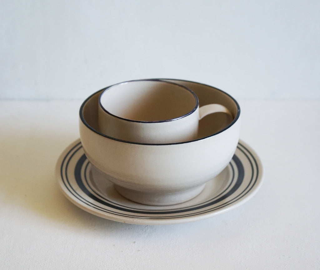 Simple Stoneware Breakfast Set - Black Linen Stripe
