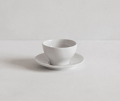 Espresso cup and saucer with no handle