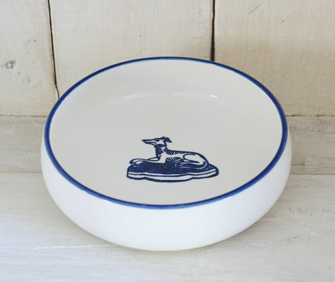 Flat Bowl with Cobalt Blue Rim and Hound Stamp