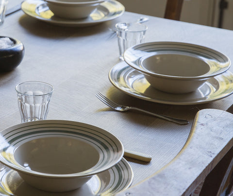 Handmade Tableware in Forest Green Linen Stripe