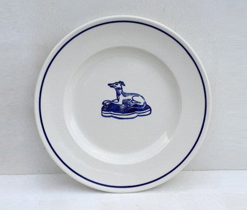 Classical Porcelain Side Plate with Blue Line and Hound