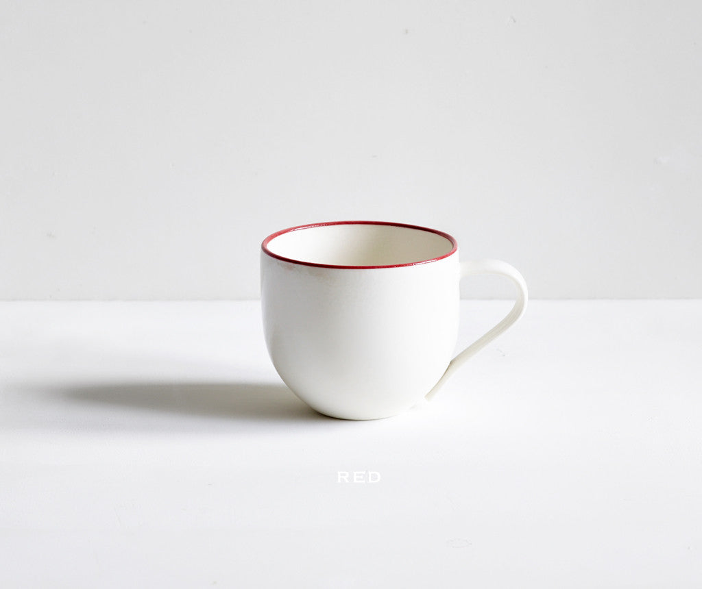 Handmade Porcelain Simple Mugs with Coloured Rim