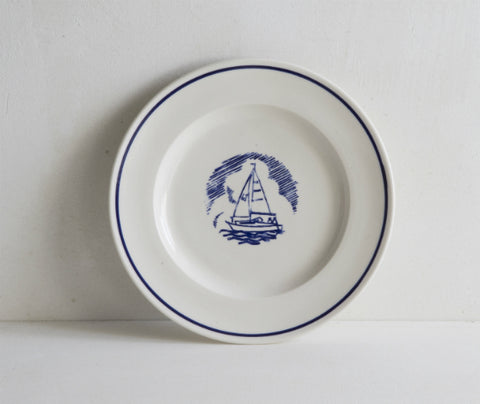 Sailing Boat stamp on 21cm porcelain plate