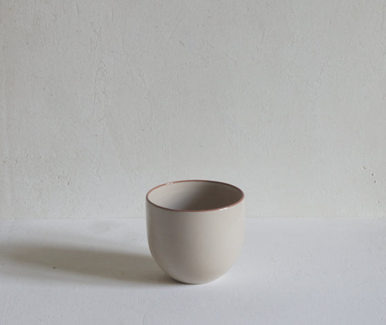 Handmade Stoneware Simple Beaker with Coloured Rim