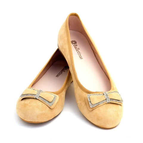Beige Ballerina Flat Shoes with bow