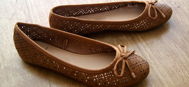 Brown ballet flats ballerina shoes women