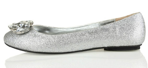 Silver ballet flats & ballerinas shoes for women