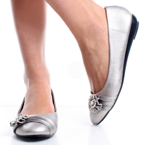 Silver ballet flats shoes for women