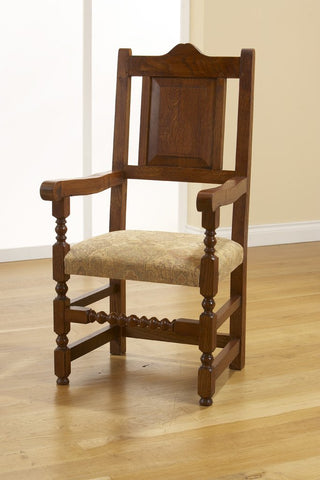 17th Century handmade oak carver upholstered seat