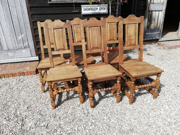 17th Century handmade oak side chair set