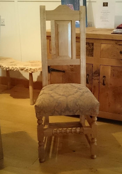 17th Century handmade oak side chair upholstered seat