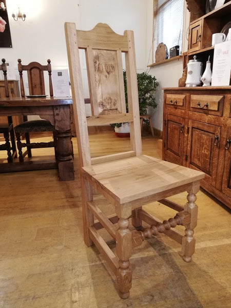 17th Century handmade oak side chair showroom