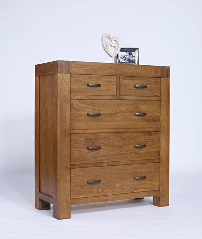 2 over 3 oak chest of drawers